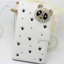 Bling crystal Panda Wallet Card Holder PU Leather Flip Pouch Cover Case for HTC