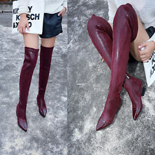 sexy over the knee high boots low heels pointed patent leather toe stretch leg