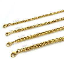 """20""""-36""""Mens Gold Stainless Steel Braided Wheat Chain Necklace Jewelry 3/4/5/6MM"""