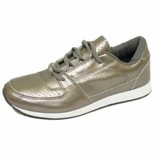 WOMENS GIRLS SILVER CASUAL GYM SPORTS FASHION TRAINERS SHOES PUMPS SIZE 3-8