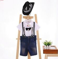 NWT Kids Boys Gentleman suit Hat Bow T-shirt Straps Jeans Pants Outfits 3pcs set
