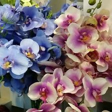 "75cm 30"" 11 HEADS WHITE BLUE REAL TOUCH ARTIFICIAL PU COATING SILK ORCHID FLOWER"