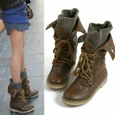 2014 Fashion women ankle boots lace up Combat boot knited shaft flats PU leather