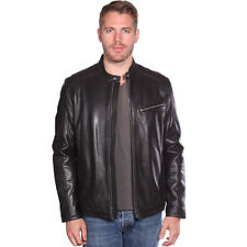 Mens Contemporary Cafe Racer Lambskin Leather Jacket (B1115)
