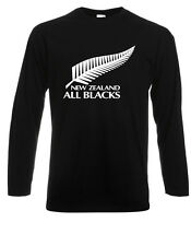 New Zealand All Blacks National Rugby Long Sleeve Men's Black T-Shirt Size S-3XL