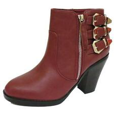 WOMENS BURGUNDY ZIP-UP ANKLE BIKER COWBOY RIDING BUCKLE BOOTS SHOES SIZE 3-9