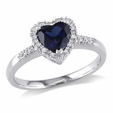 10k White Gold 1/10 Ct Diamond And 7/8 Ct Blue Sapphire Heart Love Ring GH I2;I3