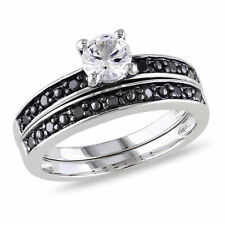 Sterling Silver 1/5 Ct Black Diamond And 5/8 Ct White Sapphire Bridal Set Ring