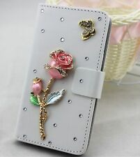 Bling crystal Rose Flip Pouch Wallet Card Slot Leather Case Cover for Motorola