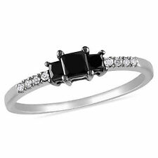Sterling Silver 1/2 Ct Black and White Princess Round Diamonds Engagement Ring