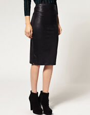SEXY WOMEN LADIES BLACK PVC LEATHER LOOK PENCIL TUBE BODYCON SKIRTS SIZE S, M, L