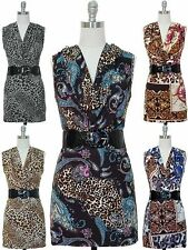 NWT Women Sleeveless Cowl Neck Bodycon Silhouette Belted Dress Animal Print S-L