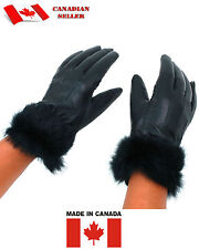 Womens Gloves Black genuine Leather Gloves Rabbit Fur Trim. Winter. Gant de Cuir