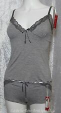 Grey With Lace Cami Camisole Top Shorts Set Pyjamas Sexy New Nightwear Lingerie