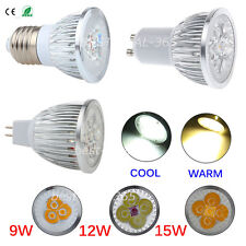 Dimmable E27 GU10 MR16 9W 12W 15W LED Bombilla Spot Light Lamp Bulb Warm/Cool