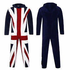 Mens Onesie Boutique New Luxurious Soft Union Jack Hooded Unisex All In One Suit