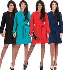 NEW Womens Long Sleeve Knee Length with Belt Plus Size Midi Dress S M L XL 2X 3X