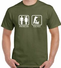 Hunting - Problem Solved - Mens Funny T-Shirt Hunt Clay Pigeon Shooting Duck