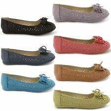 NEW LADIES CASUAL FLAT BOW DOLLY BALLERINAS BALLET PUMPS SLIP ON SHOES SIZE 3-8