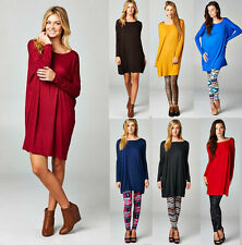 Made In USA Women Boat Neck Solid Dolman Long Sleeves Piko Style Tunic Top Dress