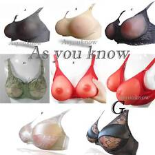 Multi-Color Style Bra Full Silicone False Breast Forms TV TG Boobs D Size Set
