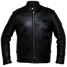 Classic Racer Biker Motorcycle Naked Cowhide Leather Jacket Double Lining armour