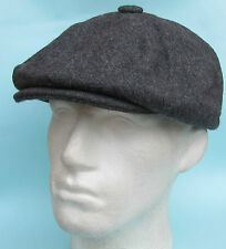 Flat Cap Grey Wool 8 Panel News Boy Baker Boy Gatsby