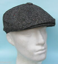 Flat Cap 8 Panel News Boy Baker Boy Gatsby Plain Grey Tweed Pattern