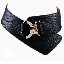 Fashion Women Buckle Corset Elastic Waist Belt Wide Stretch Waistband 2 Colors