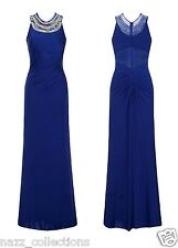 BLUE JEWEL STRETCH RUCHED BACK FISHTAIL SHEER MESH SLINKY MAXI DRESS SIZE 8-16