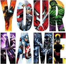 MARVEL AVENGERS LETTER NAME STICKERS WALL DECO DECAL 3 SIZES PERSONALISED lot FC