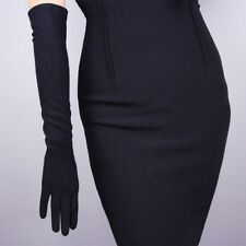 Cashmere Wool Gloves Opera Evening Long Arm Warmers Sleeves Merino Hepburn Black