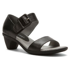 David Tate Women's Maggie Buckle Ankle Strap Closed Back Sandals Black Calf