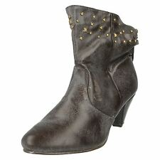 LADIES DARK BROWN PULL ON ANKLE BOOTS WITH STUD DETAIL- SPOT ON F5656