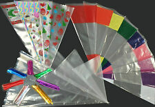 Large Coloured Cone Cello Bags Sweets Treats Candy Party Bag Plastic Cellophane