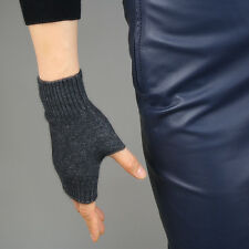Cashmere Wool Fingerless Gloves Arm Warmer Mitten Dark Grey Gray Wrist Long