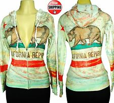 California Republic Flag Women's All Over Print Jacket Hoodie Sweatshirt w/ bear