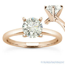 1.00 ct Round Brilliant Cut Moissanite 14k Rose Gold Solitaire Engagement Ring