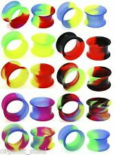 MARBLE Multi Coloured Silicone THIN Skin Ear Skinz Flesh Tunnel Plug 5- 25mm NEW