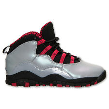 Air Jordan Retro 10 PS Girls Pre-School 487212-009 Wolf Grey Black Red Bobcats