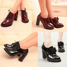 New Women's Lace Up Bowknot High Heels Thick Block Pumps Round Toe Boots Shoes