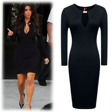 NEW Womens Open Front Long Sleeve Bodycon Evening Party Cocktail Pencil Dress