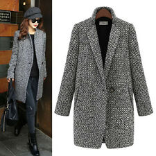 Women Warm Wool Cashmere Long Winter Parka Coat Trench Jacket Overcoat Slim NEW