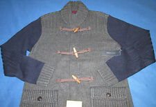 TOMMY HILFIGER WOODEN TOGGLE CARDIGAN SWEATER_WOOL BLEND KNIT CABLE MOCK TH $179