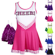 Ladies High School Girl Cheerleader Uniform Glee Cheerleading Costume w/ Pompoms