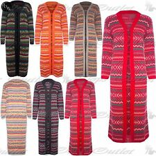 Womens Ladies Aztec Longline Chunky Knit Open Front Long Sleeve Jumper Cardigan