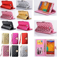 Luxury Synthetic Leather Stand Flip Wallet Case Cover for Samsung Galaxy Phone