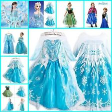 FROZEN Princess Anna Queen Elsa Girls Costume Cosplay Party Formal Dress 2-8 Y
