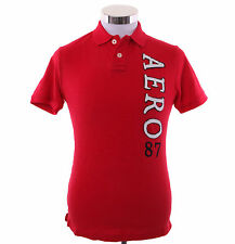 Aeropostale Men Short Sleeve Solid Graphic Jersey Polo Shirt Style 4669 $0 Ship