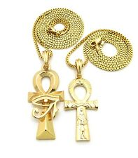 Gold Egypt Ankh Cross Horus Eye Pendant Charm Chain Necklace Jewelry Double Set